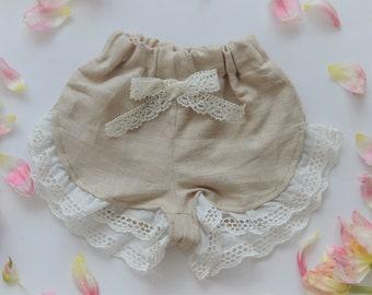 Linen summer girls shorts
