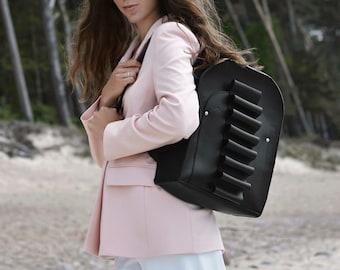 Black leather backpack, handmade Black backpack, Woman backpack, City backpack,  Travel backpack, School backpack, Laptop backpack
