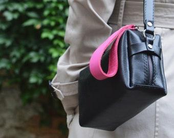 Small black leather shoulder bag, crossbody bag, mini handbag, small square handbag, multi colours, compact shoulder bag,  zip fashion bag