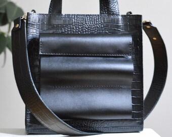 Black leather bag, leather handbag, crossbody bag women, top handle bag, cross body bag, women shoulder bag, black rectangle bag