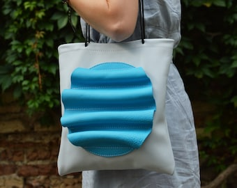 Light gray leather tote bag, blue leather tote, light leather shoulder bag, summer tote bag, beach leather bag