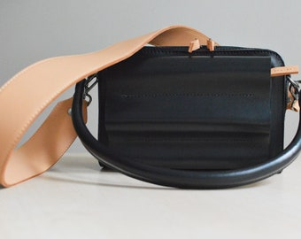 Black crossbody bag, handmade black leather crossbody bag, colorful straps camera bag, leather bag and wallet in one, handmade leather purse