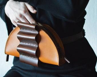 Handmade leather bag, leather belt bag, women belly bag, leather waist bag, handmade leather handbag, green leather bag, gift for her