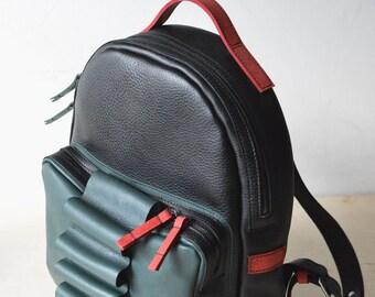 Black leather handmade backpack, green leather backpack, black rucksack, red backpack, laptop bag, unisex backpack, unisex bag