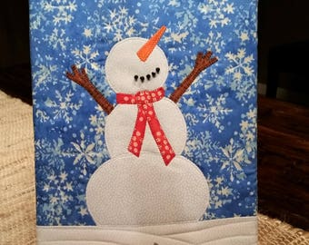 Happy Snowman Quilted Wall Hanging
