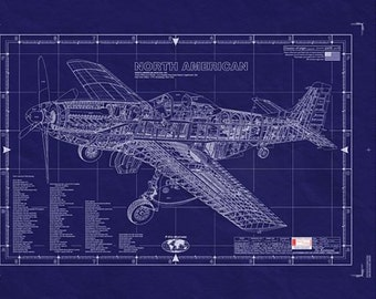 NORTH AMERICAN P-51D MUSTANG - Blueprint - Large Design Drawing