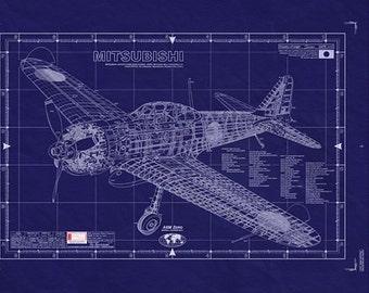 MITSUBISHI A6M (ZERO) WW2 Aircraft /Blueprint - LARGE Engineering Drawing