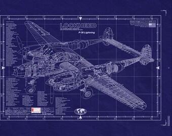 LOCKHEED P-38 LIGHTNING Blueprint - Large Engineering Drawing/ WW2 Aaicraft