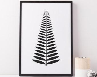 Fern Print, Black and White Wall Art, Fern Wall Art, Scandinavian Print, Modern Fern Print, Black And White Printable Art, Minimalist Print