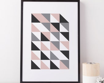 Blush gris arte abstracto geométrico, impresión, arte geométrico gris rosado de la impresión, escandinavo, arte imprimible moderno geométrico, moderno, arte gráfico
