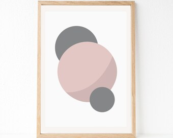 Geometric Art Print, Blush Grey Wall Art, Circle Wall Art, Abstract Art Print, Abstract Art, Simple Print, Printable Art, Blush Grey Print