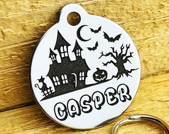 Halloween Inspired | Dog Tag for Dogs | Dog ID Tag | Pet ID Tag | 2-side Personalized | Deep Engraved | Stainless Steel