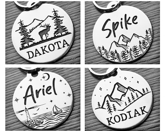 Nature Inspired | Dog tag for dogs | Dog ID tag | Pet ID tag | Mountain Themed | 2-side Personalized | Deep engraved | Stainless steel