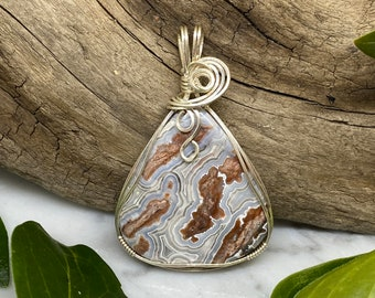Agate Jasper Sterling Silver Sculpted Wire Wrapped Pendant Earthy White Brown Necklace