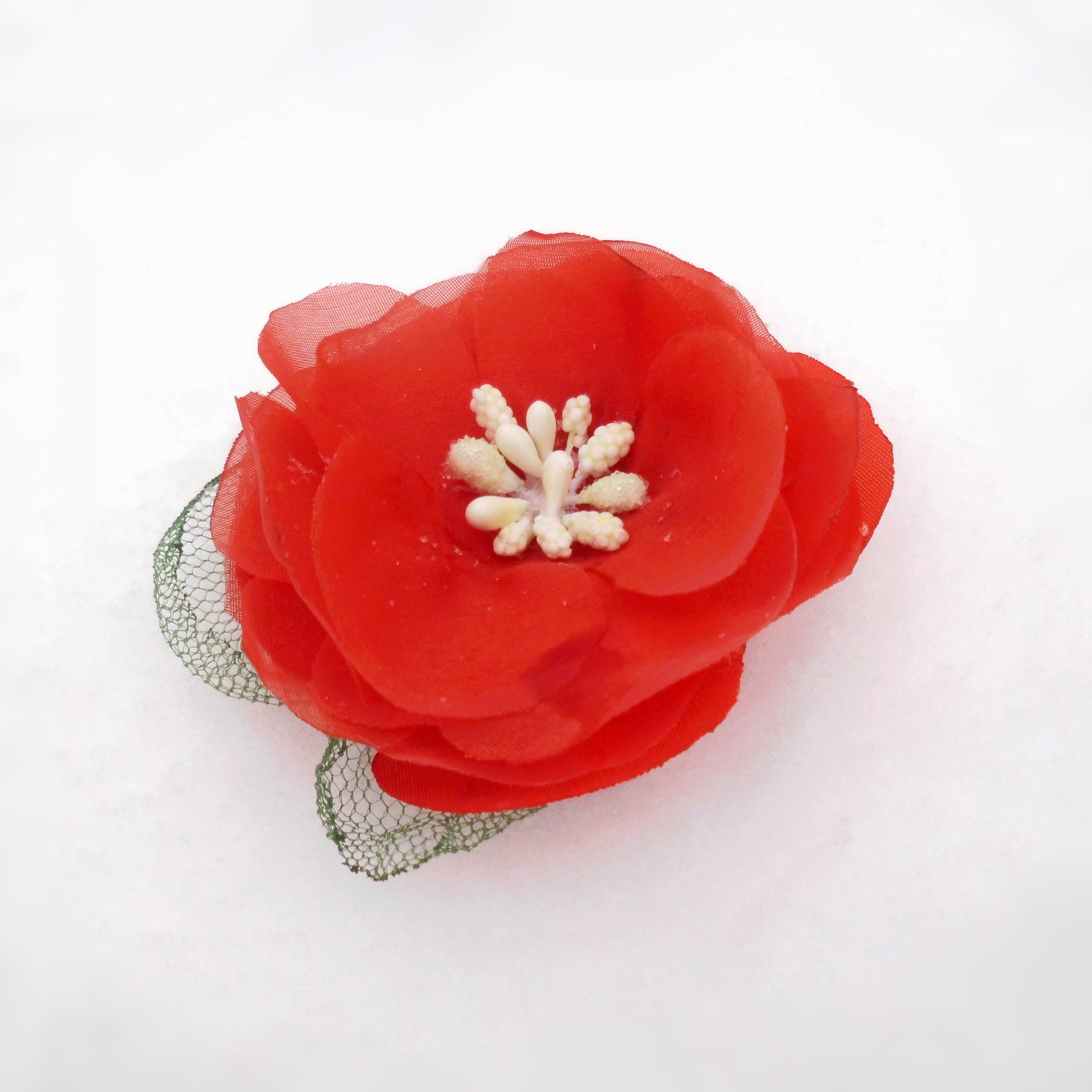Fabric Flower Red Poppy Silk Flower Big Floral Gift For Etsy