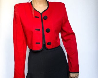 Vintage Blazer-red-blazer for women-l-shimmering surface-short cut-80s vintage-Synthetic fibre mix
