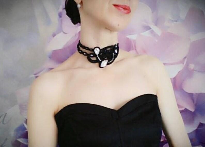 Soutache statement black choker necklace with rhinestones