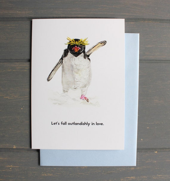 Macaroni Penguin Lets Fall Outlandishly In Love Etsy