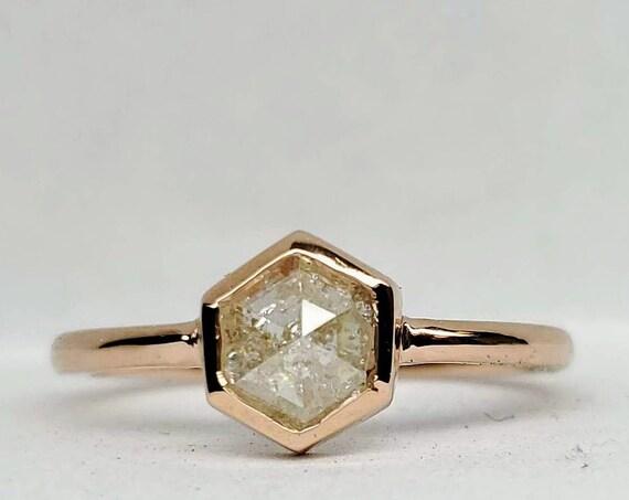 Hexagon diamond ring, Gray hexagon diamond ring, Geometric Rose gold raw diamond ring