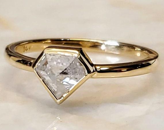 Geometric Yellow Gold Shield diamond ring, Yellow gold Shield diamond Bezel Set engagement ring, Shield diamond ring.