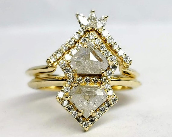 Rose cut raw diamond ring, Gray diamond ring, Salt and pepper diamond ring, Geometric diamond engagement ring.