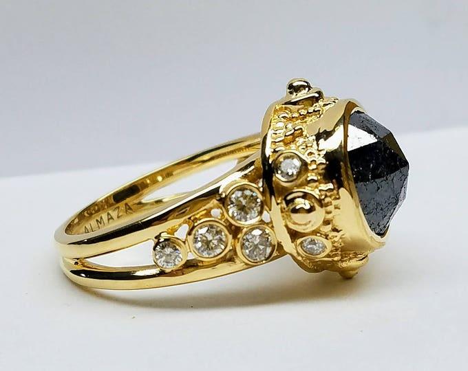 Black diamond engagement ring, rose cut black diamond ring, cocktail ring, rough diamond, raw diamond.