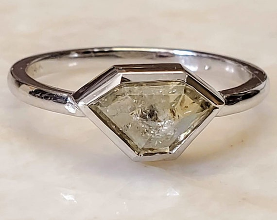 1.27 carat Gray Shield Shape Diamond Engagement Ring.