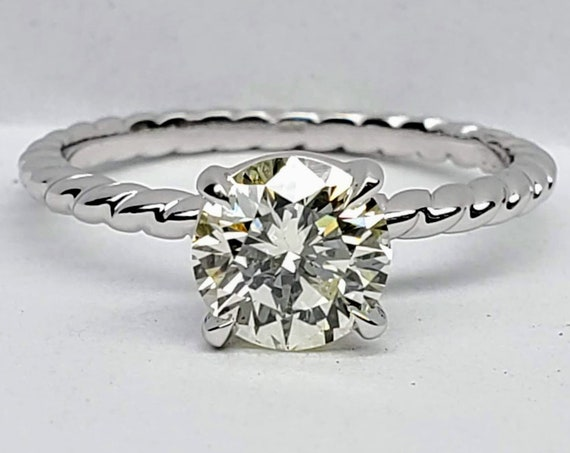 0.90 carat Diamond Twisted Rope Solitaire Engagement Ring In White Gold