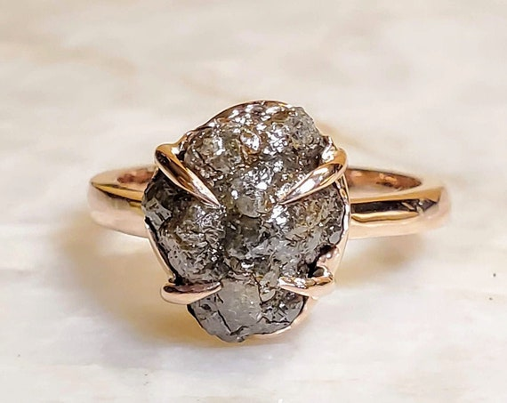 Rough diamond rose gold ring, Raw diamond ring, Salt and pepper diamond, Bague en Diamant brut, Rohdiamantring.