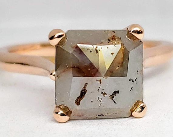 Square Rustic Grey 14kt rose gold Diamond Ring.