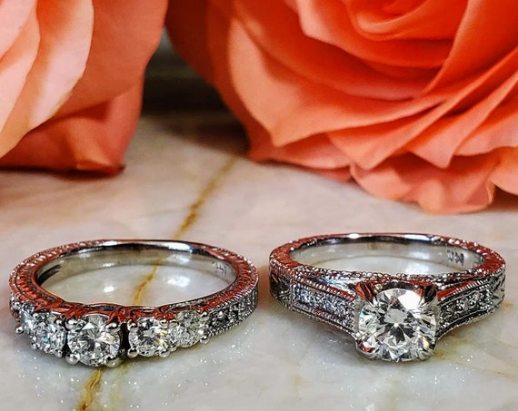Vintage Engagement and wedding ring set.