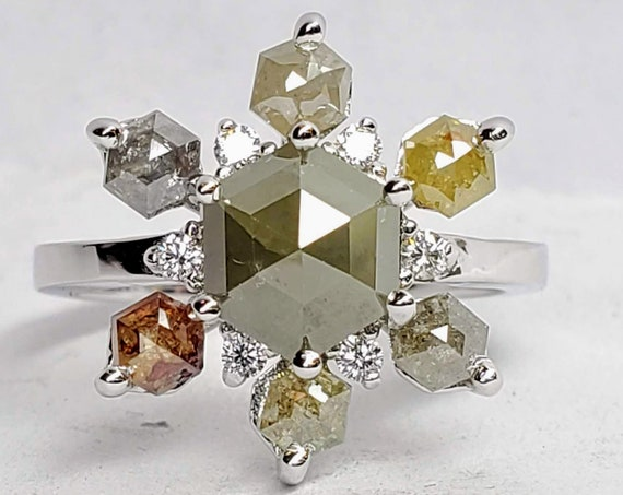 Cluster Diamond Ring / Solid 14 k Gold / Natural Diamonds, Hexagon rose cut diamond ring.