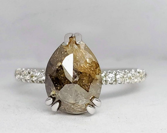 Pear Shape Rose cut diamond engagement ring, Non traditional ring, Grey diamond ring.