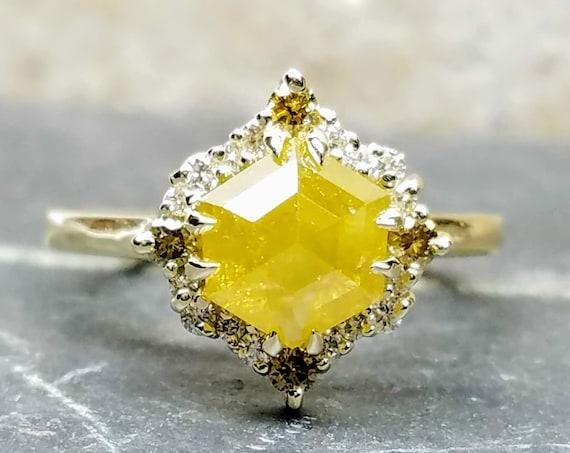 Yellow Hexagon diamond ring, Yellow gold rose cut diamond ring, Geometric raw diamond engagement ring.