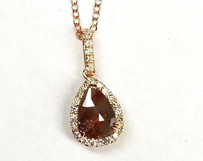 Raw rustic rough rose cut diamond pendant, Pear shape diamond necklace, Chocolate color diamond pendant, Rose gold pendant.