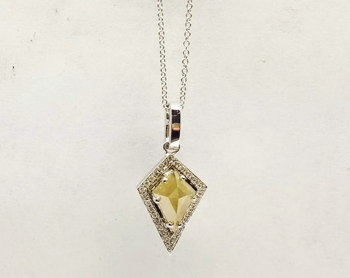 Salt and pepper geometric kite diamond pendant, Raw diamond pendant, Gray,Shield diamond necklace.