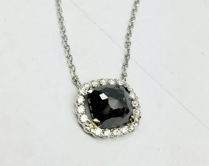 Black diamond necklace, Rose cut black diamond necklace, Raw black diamond, Cushion Black diamond pendant.