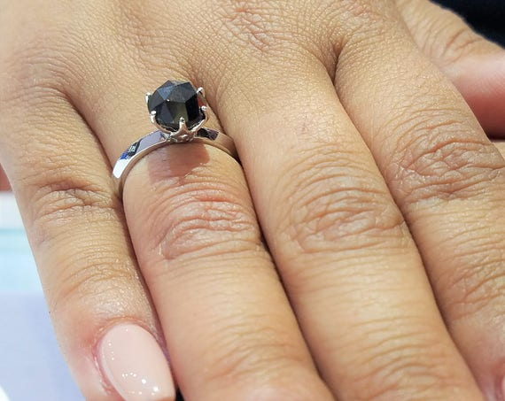 Black diamond engagement ring, rose cut black diamond solitaire engagement ring, rough diamond, raw diamond.