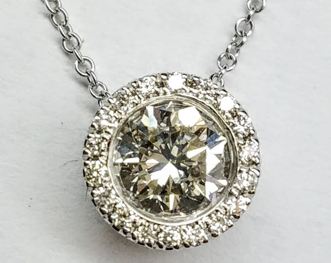 Diamond slider necklace, Diamond necklace, diamond halo necklace, 14k White Gold Diamond floating necklace.