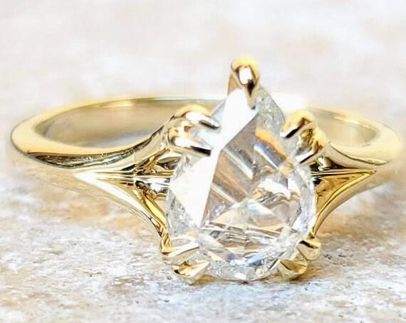 1.14 carat white pear shape rose cut diamond engagement ring
