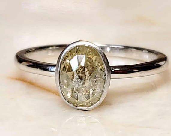 1.21ct Salt and Pepper Diamond 14KT White Gold Engagement Ring Oval Bezel Set Low Profile Minimalist Classic Matte Finish Dark Gray