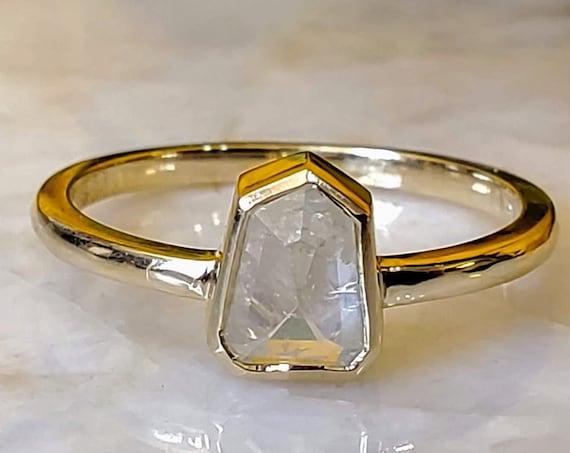 14kt Minimalist Yellow Gold Shield Diamond Ring.