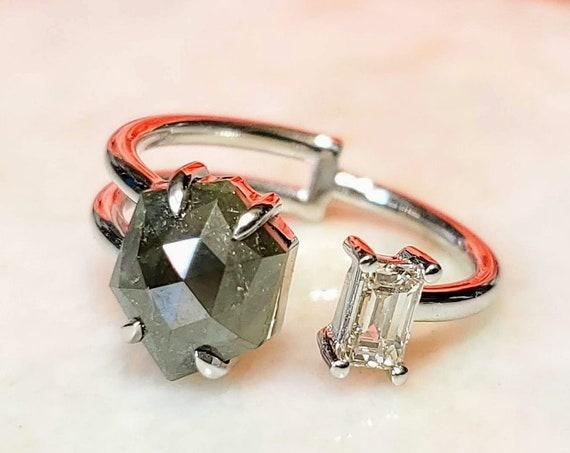 Hexagon rose cut diamond two stone ring.