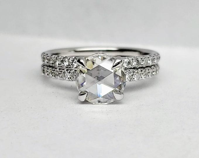 Moissanite engagement ring, Round Forever One Moissanite Engagement Ring, hidden halo ring, Rose cut moissanite ring.
