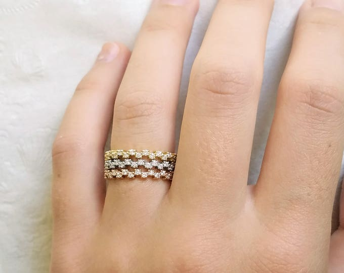 Dainty Diamond wedding band, Diamond anniversary band, Diamond stacking ring,  Delicate diamond ring, tricolor rings.