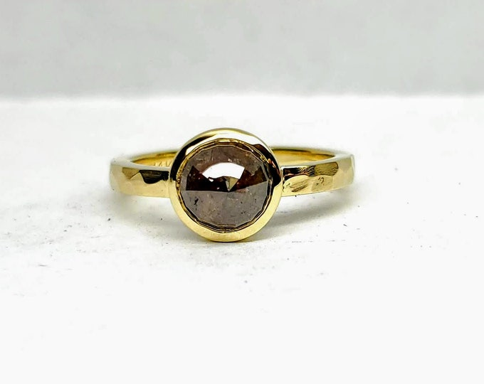 Rose cut diamond ring, Raw diamond engagement ring, Yellow gold Stackable ring.