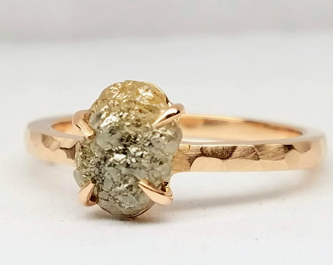 Rough diamond rose gold ring, Raw diamond ring, Salt and pepper diamond, Bague en Diamant brut, Rohdiamantring.
