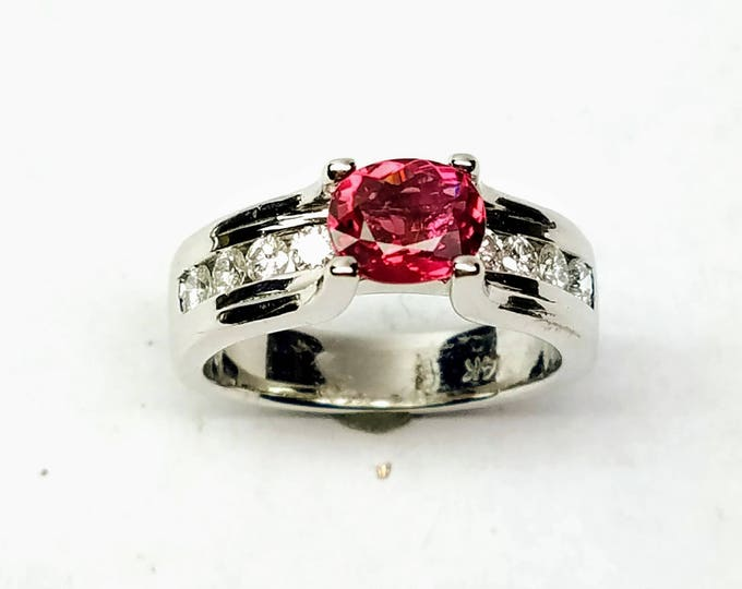 14kt white gold diamond and Pink tourmaline ring.