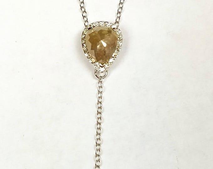 Lariat diamond necklace, Rose cut diamond necklace, Raw diamond Y necklace.