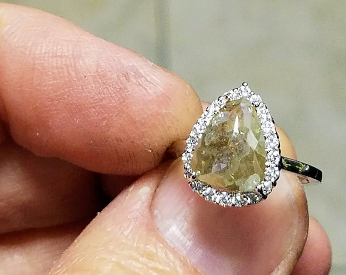 Rustic gray diamond engagement ring. Organic grey diamond ring.